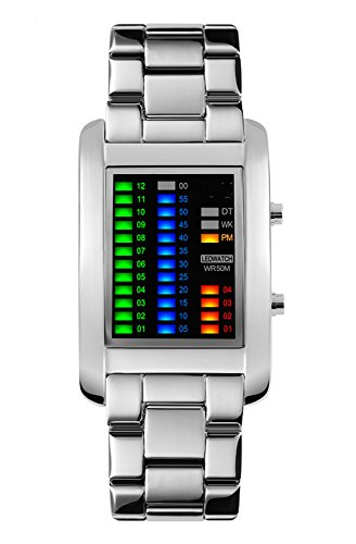 FunkyTop Men's Binary Matrix Blue LED Digital Waterproof Watch Stainless Steel Military Silver Watches (Silver Mens Fashion)