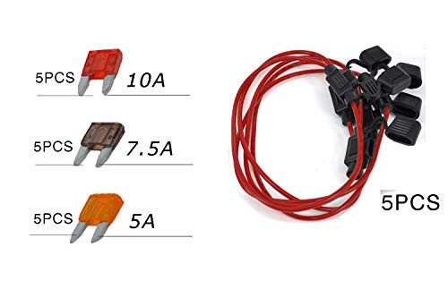 5PCS Standard Auto Blade Fuses Holder Kit, 5PCS Mini Car Fuse+5PCS In-line Fuse Holder Box+Fuse Extractor, Fuse Replacement Assortment Kit 5A 7.5A 10A for Truck SUV Boat