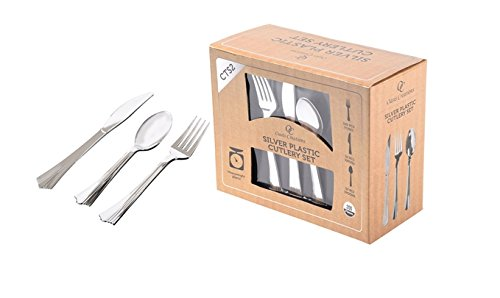 Premium Hard Silver Plastic Cutlery Set By Oasis Creations – 200 Pieces - Disposable or Washable & Reusable - Party Supplies For Birthdays, Celebrations, Buffets, Fiestas & More