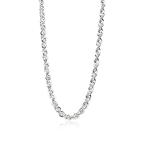 Sterling Silver 3mm Twist Rope Chain Necklace, 30 Inches (5mm Sterling Silver Rope)