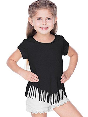 Kavio! Girls 3-6X Sheer Jersey Raw Edge V Fringe Short Sleeve Black 5/6