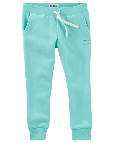 Osh Kosh Big Girls' Fleece Jogger Pants, Teal, 10 (Embroidered Drawstring Pants)