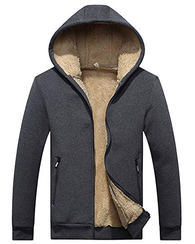 Felpa Cappuccio Caldo Cappotto Outwear Felpe Zip Grigio Moollyfox Cashmere Fodera Giacche Cappotti Uomo In Con 8PTzH7