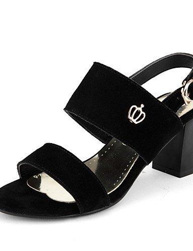 Pour Noire Shangyi Chaussures Robe Noir Femmes Cuir Sandales Chunky À Bout Ouvert Talon fOxZwSqBx
