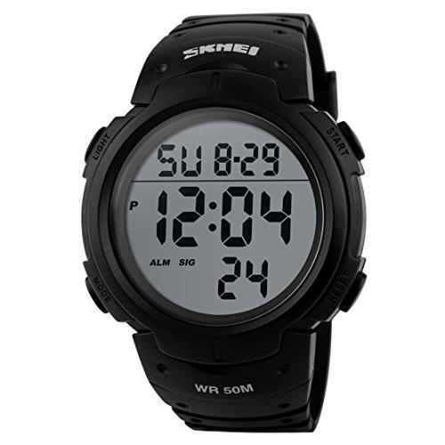 SEAAN 1068 Unisex Herren Sport Uhren Male Digital Outdoor Armbanduhren Wasserdicht (Schwarz)