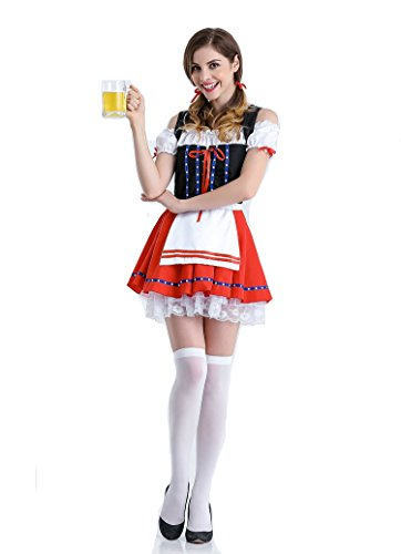 Halloween germany beer waiter costume sexy maid dress 8940 (Free size white Socks) (Good Bartender Halloween Costume)