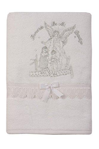 Dreamer P Unisex Baby Christening Baptism Towel Mary Cross Angel Design Embroidered Gift (RH-Angel)