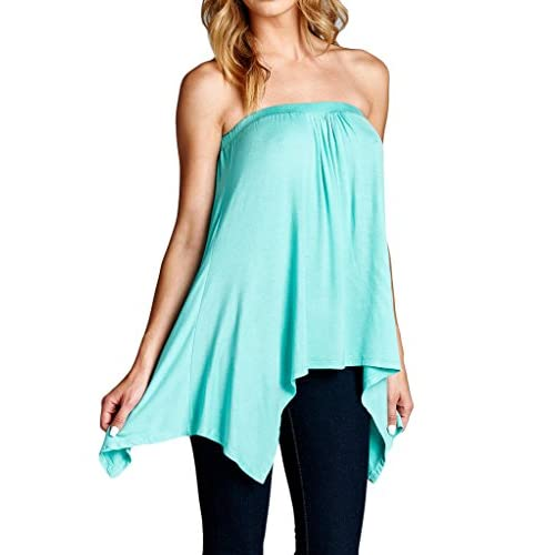 af592c6e2d6 Handkerchief Asymmetrical Hem Flared Loose Fit Strapless Tunic Shirt Tube  Top 50%OFF