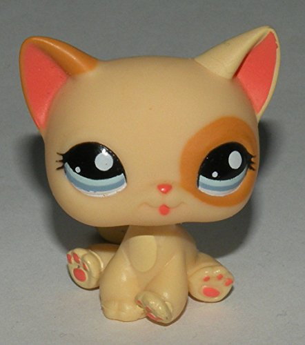- Littlest Pet Shop Cream Yellow Orange Cat Kitty with Blue Eyes #1521