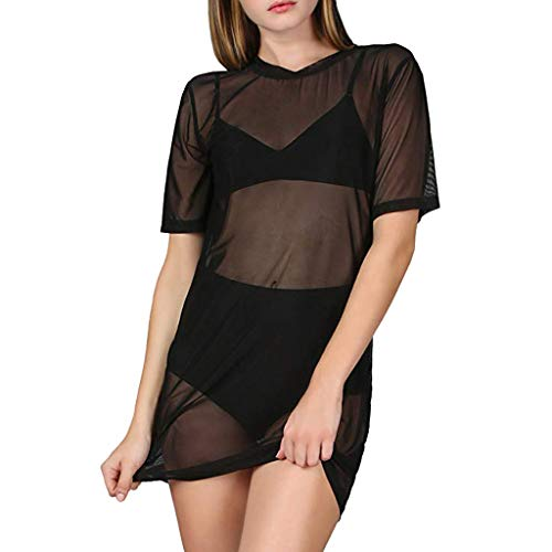 YKARITIANNA Women's Sexy Beach Cover Ups Short Sleeve See Through Sheer Mesh T Shirt ()