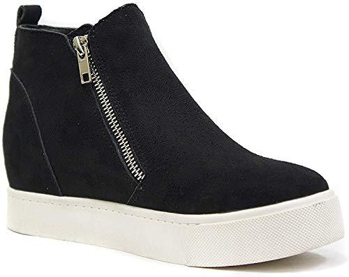 Soda Taylor Hidden Fahsion Wedge Sneaker Shoes Side Zipper