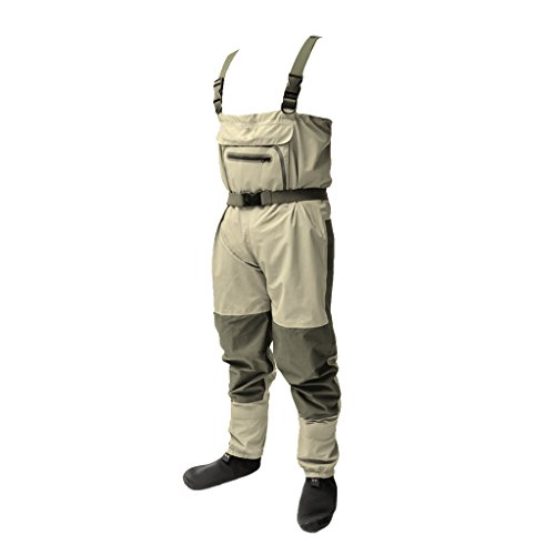 - SM SunniMix Premium Breathable Fishing Waders Pants with Stocking Foot for Men Women, Waterproof Chest Waders for Outdoor Fly Fishing, Farming, Hunting, Rafting - M