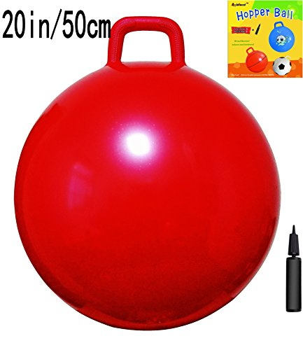 AppleRound Space Hopper Ball with Air Pump: 20in/50cm Diameter for Ages 7-9, Hop Ball, Kangaroo Bouncer, Hoppity Hop, Jumping Ball, Sit & Bounce (Plain Red) ()