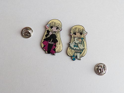 2 Anime Chobits White Chi Dark Chi Metal Pins Set