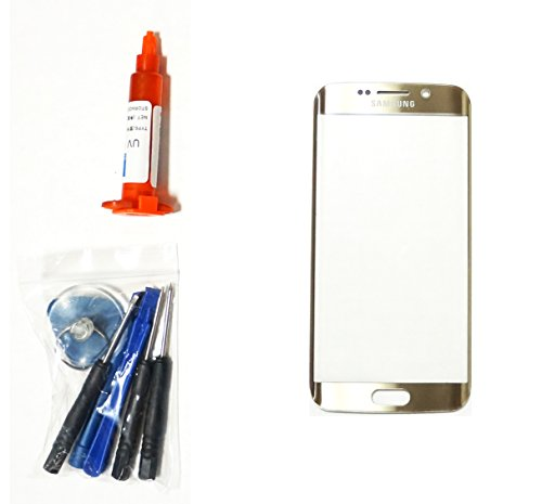 (md0410) OEM GOLD Front Outer Lens Glass Screen Replacement For Samsung Galaxy S6 EDGE G925 + Tools + 5ml UV LOCA Liquid Glue Adhesive (LCD and Digitizer not included) (T Mobile Samsung Galaxy S4 Screen Replacement)