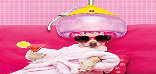 Lunarable Funny Pencil Pen Holder, Chihuahua Dog Relaxing and Lying in Wellness Spa Fashion Puppy Comic Print, Printed Ceramic Pencil Pen Holder for Desk Office Accessory, Magenta Baby Pink by Lunarable (Image #1)