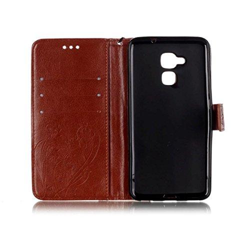 SRY-Conjuntos de teléfonos móviles de Huawei Caso de HUAWEI Hornor 5C, caja de color sólido, caja de cuero de la PU de alta calidad Buttrfly patrón de grabación en relieve cubierta de la caja de Kicks Brown
