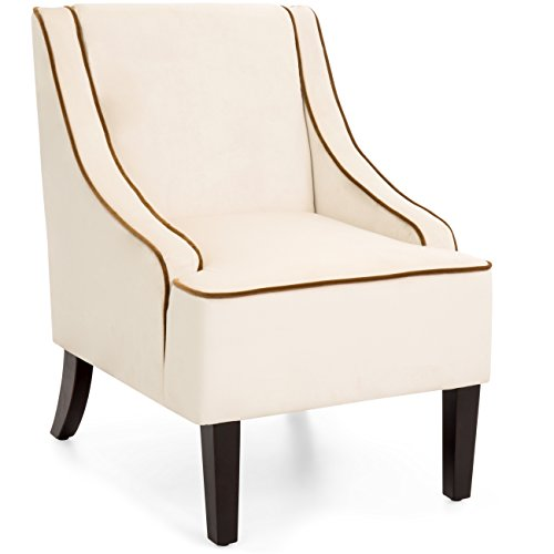 Best Choice Products Microfiber Accent Chair w/Tapered Wood Legs - Microfiber Chair Beige