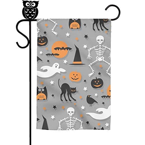 12 X 18 Inch Unique Design Halloween Skeleton Pumpkin Ghost Gray Xmas Decoration Flags Outdoor Colorful Garden Flag
