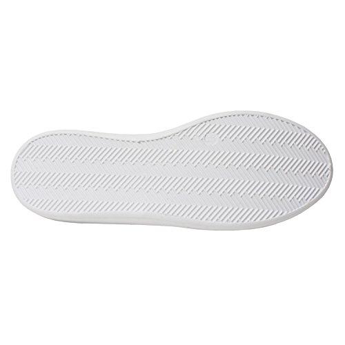 H2k Mood Mujeres Comfy Walking Flats Sneakers Zapatos Casuales Con Banda Elástica Blanco Y Blanco