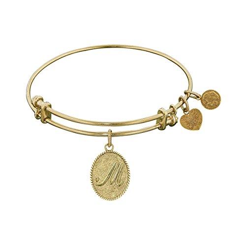 "Angelica Yellow Brass Initial Letter M Bangle Bracelet, 7.25"" -  GEL1167"