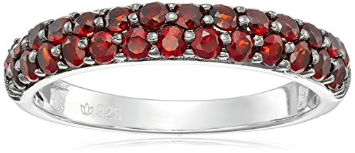 Sterling Silver Red Garnet Double-row Band Stackable Ring, Size (Red Double Row)