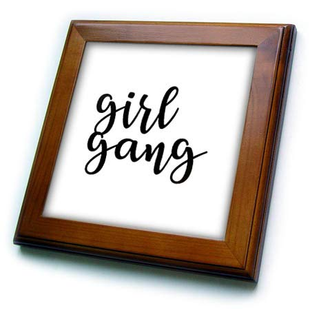 3dRose Tory Anne Collections Quotes - Girl Gang - 8x8 Framed Tile (ft_288548_1)