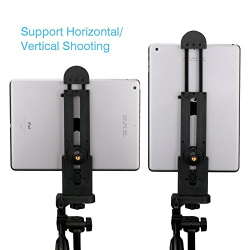 iPad Tripod Mount Tablet Adapter Universal Clamp Holder for iPad Air/Mini/Pro, Microsoft Surface, Nexus Most Tablets (5inch-12inch Screen) Phones for Selfie Stick