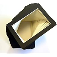 Pack of 100 sets of 5x7 BLACK Picture Mats Mattes Matting for 4x6 Photo + Backing + Bags