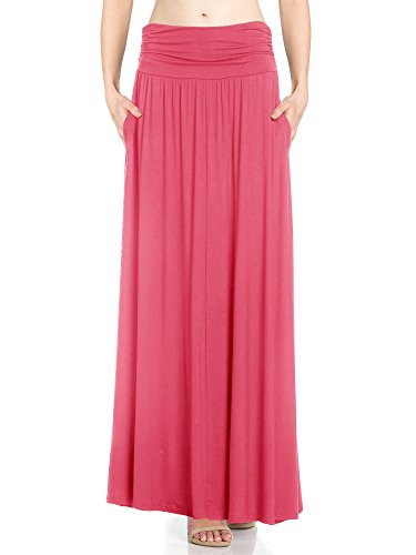 (Fashion California Womens 1 Pack High Waist Shirring Maxi Skirt with Side Pockets (XXX-Large,)