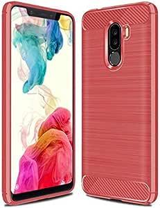 Xiaomi Pocophone F1 case Carbon Brushed Soft TPU cover - Red