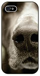 iPhone 4S Dog nose. Sephia - black plastic case / dog, animals, dogs