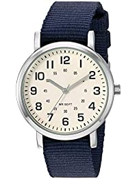 Unisex Easy to Read Silver-Tone and Nylon Strap Watch