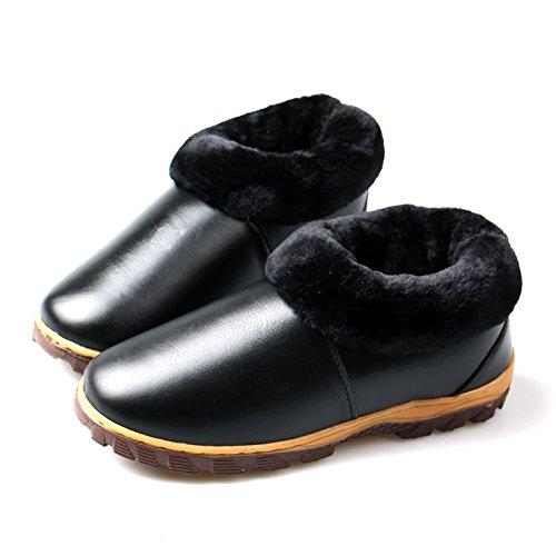 Soggiorno caldo inverno scarpe impermeabili tendine di manzo fondo cuoio pantofole di cotone confezione con cotone scarpe anti-slittamento ,45, classic nero inferiore