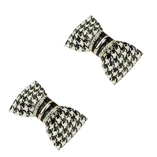 Douqu Clastic Wild Black White Dots Crystal Bow Artificial Leather Shoe Clips Charms Sandals Boots Clips Pair (Black)
