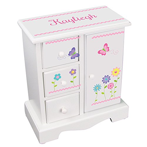 MyBambino Personalized Girls Jewelry Armoire with Stemmed Flowers Design - Armoire Jewelry Floral