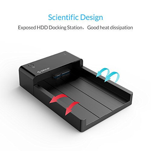 ORICO Tool-Free USB 3.0 & eSATA to 2.5'' & 3.5'' SATA External Hard Disk Drive Lay-Flat Docking Station HDD SSD Enclosure [Support 8TB]- Black by ORICO (Image #3)