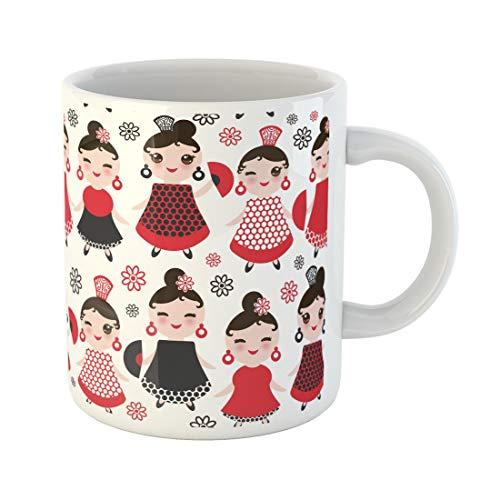 Semtomn Funny Coffee Mug Spanish Woman Flamenco Dancer Kawaii Cute Face Pink Cheeks 11 Oz Ceramic Coffee Mugs Tea Cup Best Gift Or Souvenir