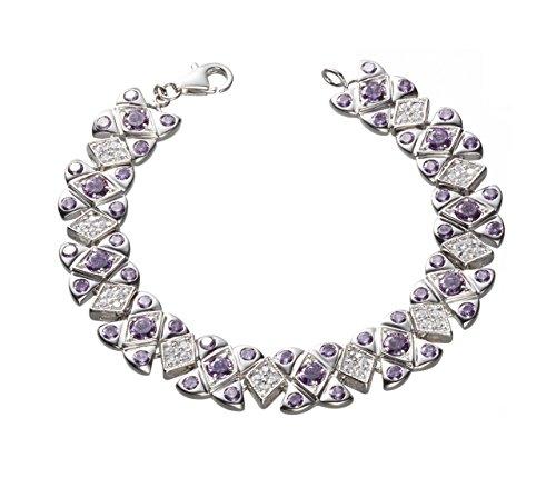 NEW ARRIVAL Queen Jocelyn Fashion Style Purple and White Cubic Zirconia Strand Bracelet by Queen Jocelyn (Image #2)