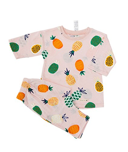 Sleeve 2 Piece Pajamas - Lintto Pineapple Girls 2 Piece 3/4 Sleeves Pajama Set Cotton 100% Kids PJS Sleepwear (120(4T-5T))