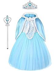 URAQT Elsa-kostuum, Elsa Anna-jurk met toverstaf en kroon, prinses aankleden voor meisjes, verkleedkleding voor bruiloft, feest, optocht, cosplay