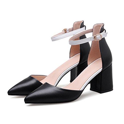 una spessi sandali 6 black bocca Sandali e vento Moda mondana la primavera Alla con Ajunr donna una 8cm Da Donna l'estate superficiale fibbia axnBfqRzH