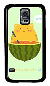 Eat Watermelon To Cat Black Hard Case Cover Skin For Samsung Galaxy S5 I9600
