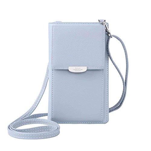 Hmilydyk monnaie Light Blue Bandoulière À Femmes En Sac Cuir carte Pochette Porte Portefeuille Mini Téléphone Épaule Porte Portable RfRwq8