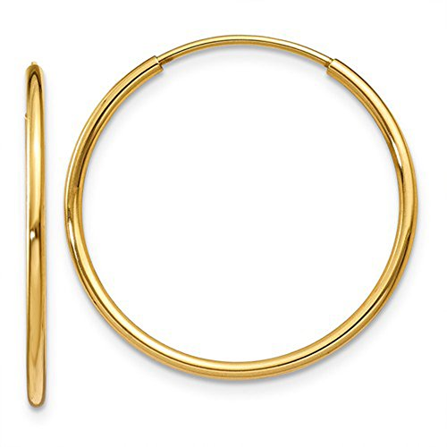 (Medium 14k Yellow Gold Continuous Endless Hoop Earrings, 1.25mm Tube (23mm) )