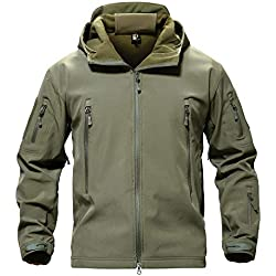TACVASEN Men Windproof Softshell Tactical Hoodie Fleece Hunting Jacket Coat Army Green,US 2XL