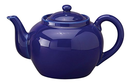 HIC Traditional Teapot, High Fired Ceramic Porcelain, 8-Cup, 46-Ounce Capacity, Cobalt