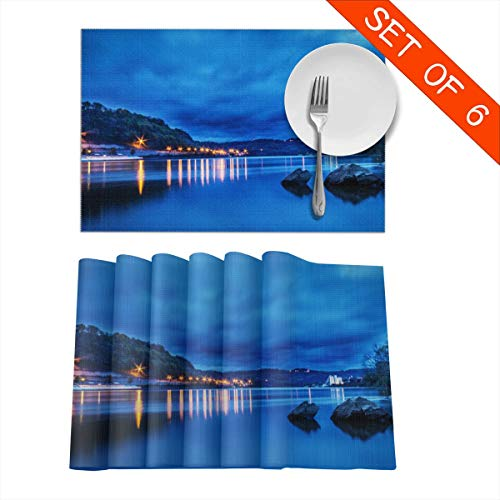Barnardll-Home Placemats Set of 6 Sunset Over The Ohio River Heat-Resistant Placemat for Dining Table Place Mats Anti-Skid Washable Kitchen Table Mats (Ohio Sunset Table)