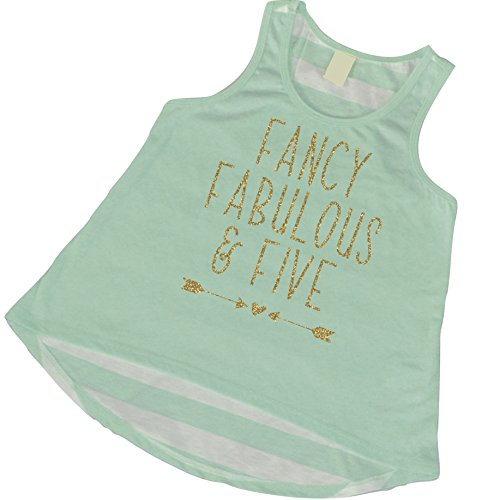 5th Birthday Tank Top, Girl 5th Birthday Outfit, Five and Fabulous (5T)
