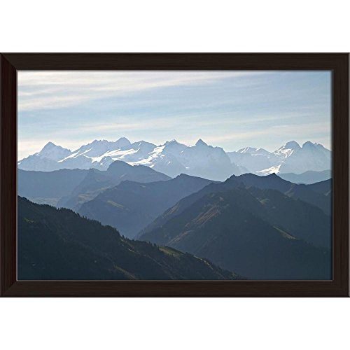 Pitaara Box Aerial View Over The Swiss Alps Canvas Painting Dark Brown Frame 23.5 X 16Inch